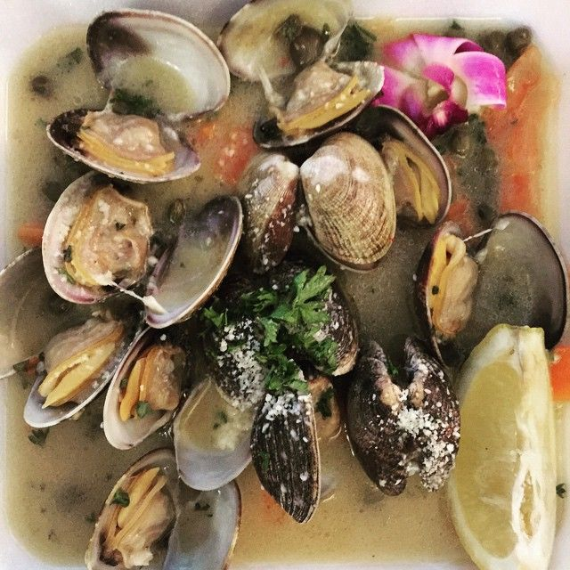 Clams in butter, garlic and capers.