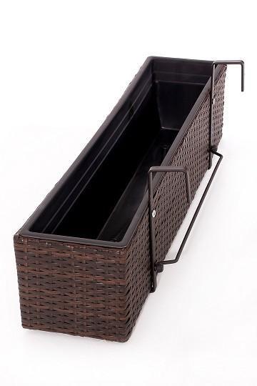 blumenkasten balkonkasten polyrattan 80 cm bew sserung. Black Bedroom Furniture Sets. Home Design Ideas