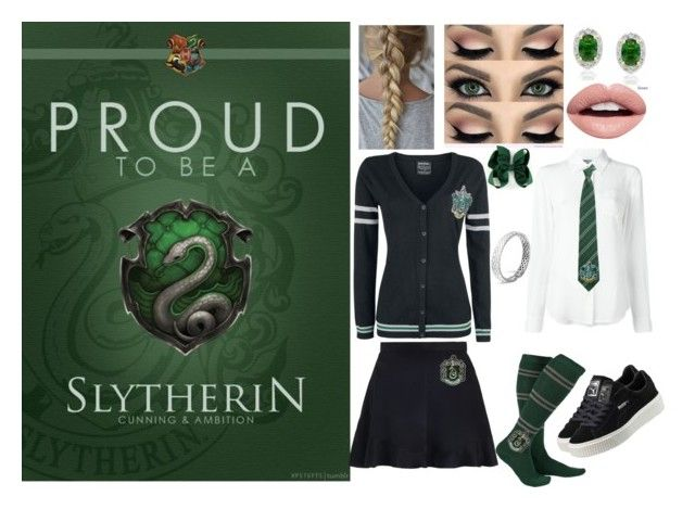 """Slytherin Pride: The Sly Snake"" by harrypotterstyledm ❤ liked on Polyvore featuring Moschino, Zimmermann, Puma, Nevermind, Dolce Giavonna and John Hardy"