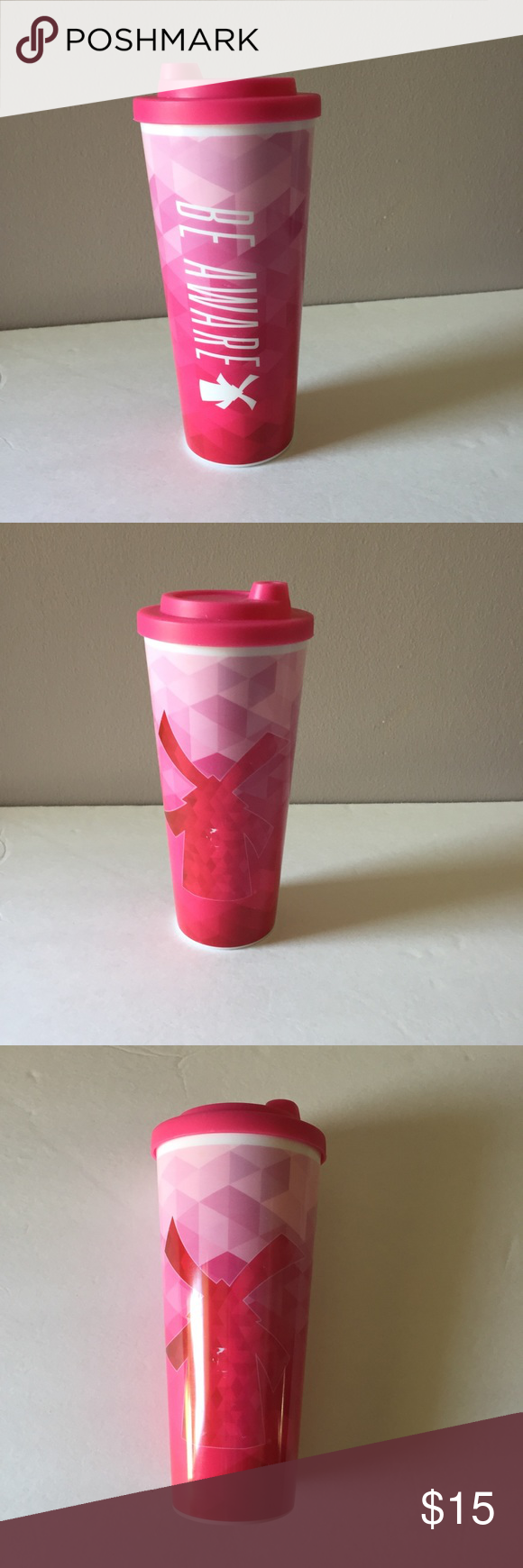 Coffee mug from Dutch Bros Dutch Bros travel mug Be Aware breast cancer awareness BPA FREE  there is a scratch on the mug it was purchased like this. It happened during shipping. Negotiable Very clean no pets non-smoker's Dutch Bros Kitchen Coffee & Tea Accessories #dutchbros