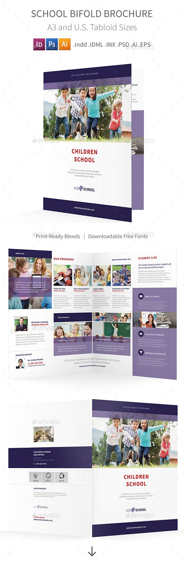 school bifold halffold brochure brochures psd templates and template