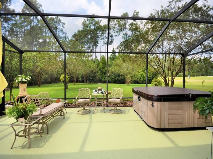 Screened lanai with hot tub overlooking golf course with for Lanai structure