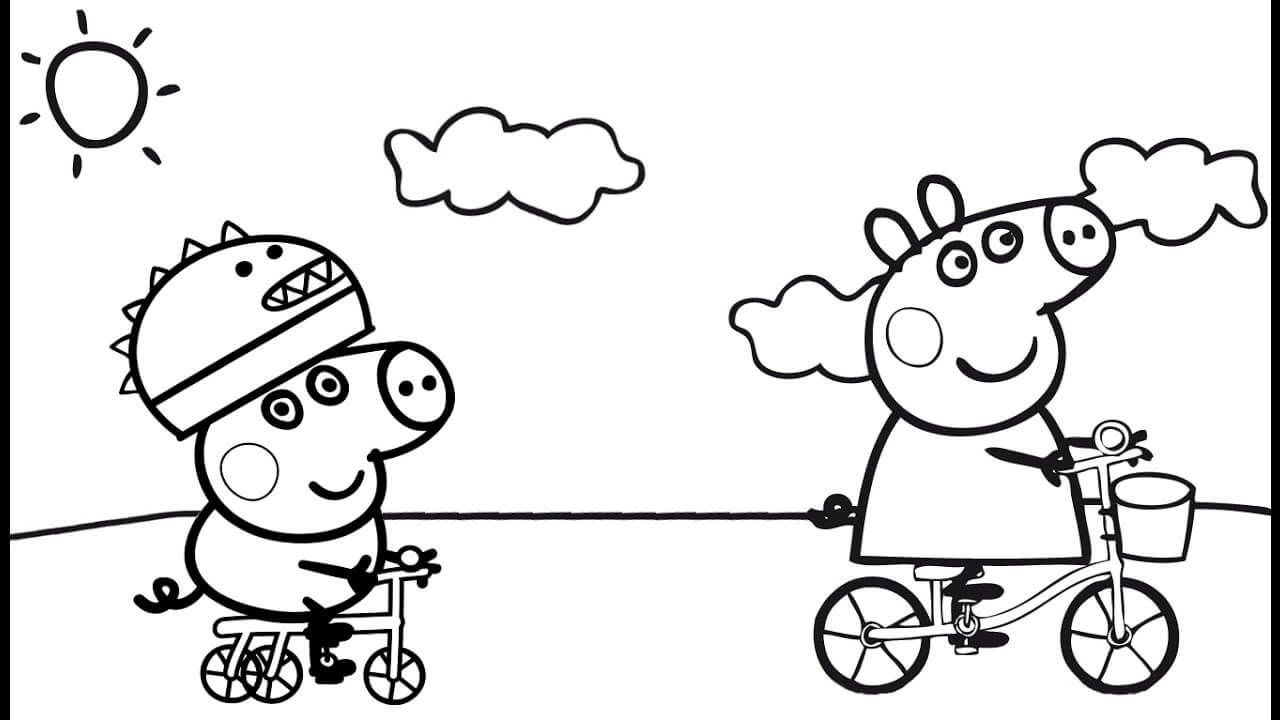 Peppa Pig Cycling With George Coloring Page Peppa Pig Coloring Pages Peppa Pig Colouring Peppa Pig Books