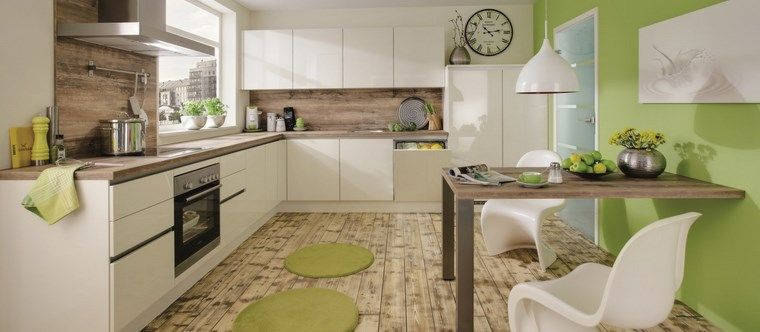 forma cocina diseno L pared verde ideas Cocina Pinterest
