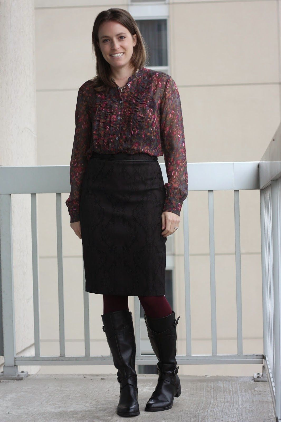 floral thrifted blouse black pencil skirt burgundy