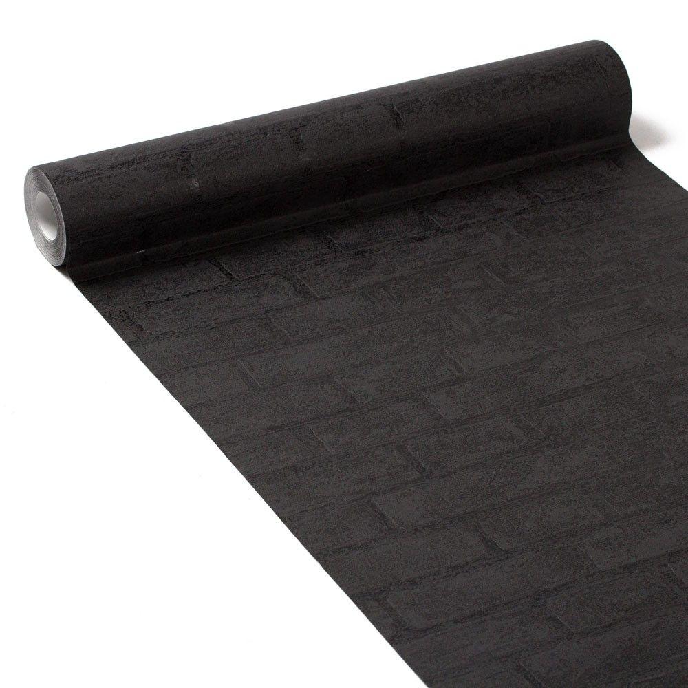 Le Papier Peint Est Il Recyclable papier peint intissé boston noir | papier peint brique