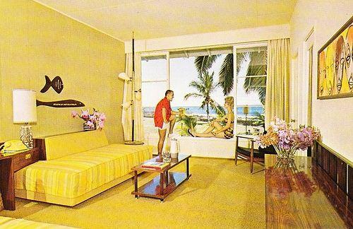 Mid century modern hawaiian hotel room hawaiiana for Vintage hotel decor