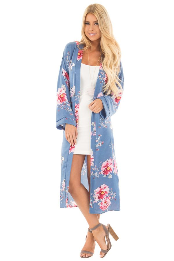 Cornflower Blue Long Flowing Floral Kimono | Cardigans for