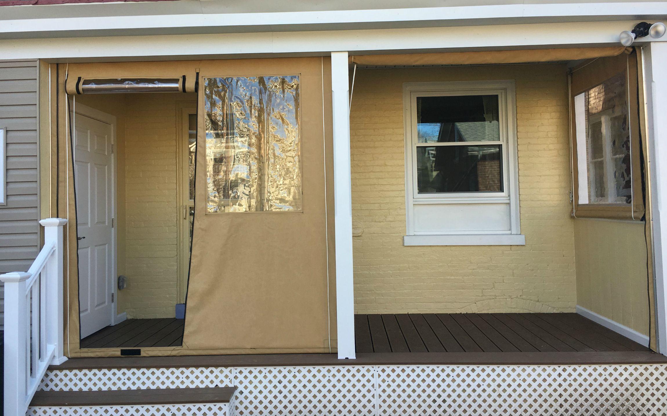 Clear Vinyl Drop Curtains On A Porch Zippered Door Sunbrella