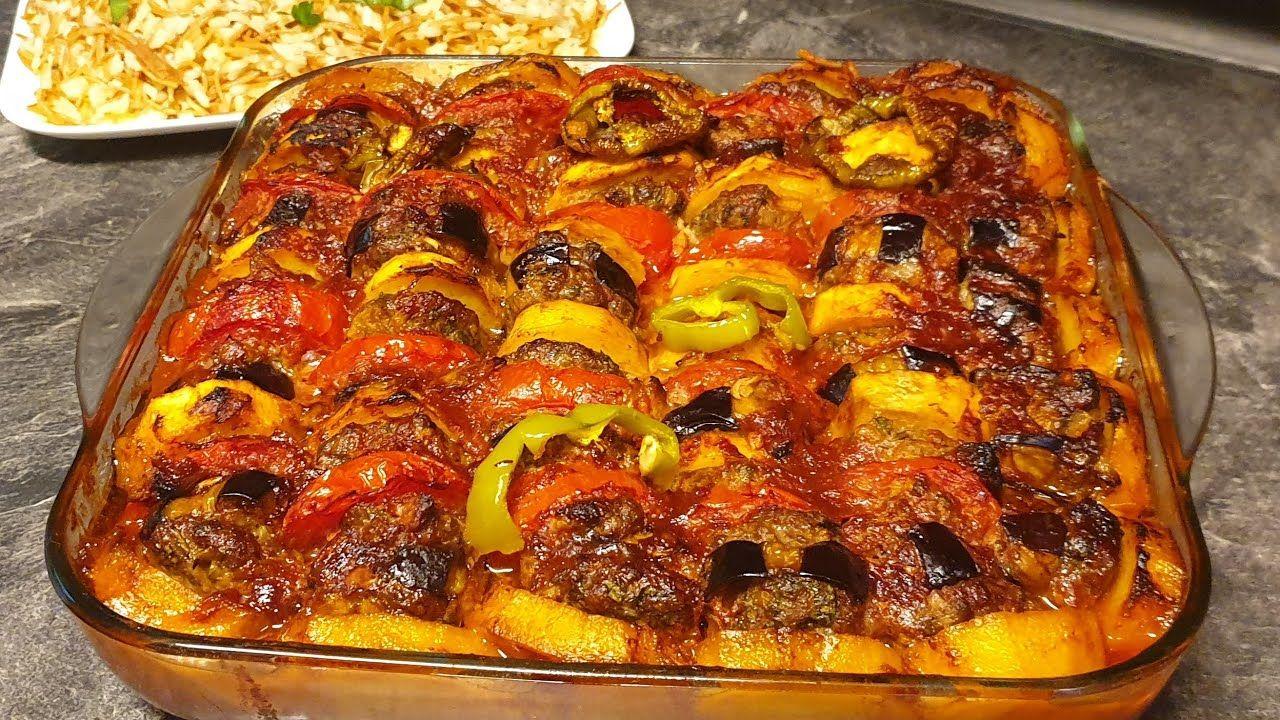 صينية الكفتة بالخضار في الفرن على الطريقة التركية بأسهل طريقة واطيب طعم Youtube Food Vegetable Pizza Vegetables