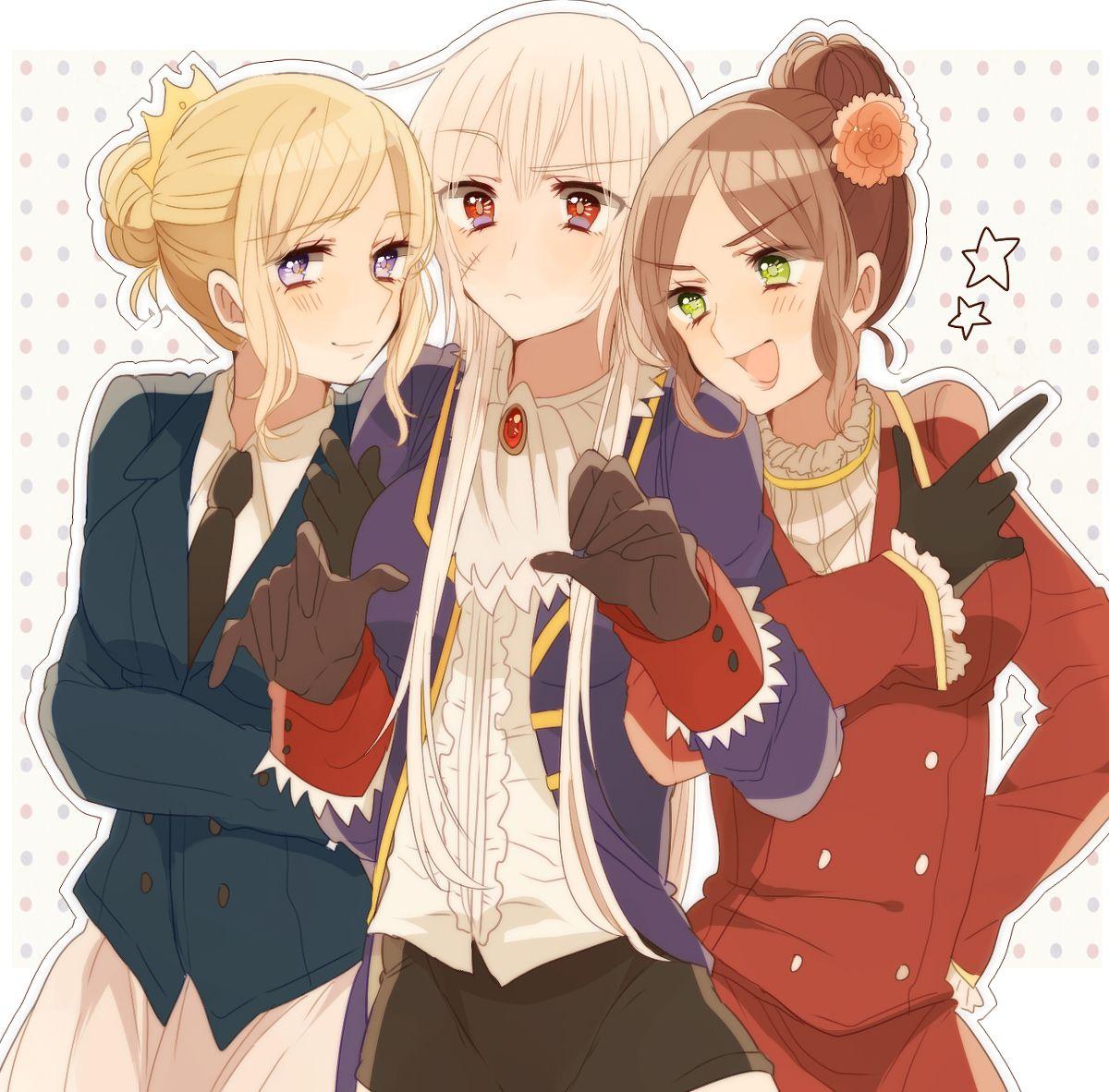 Tags: Axis Powers: Hetalia, Nyotalia, Germanic Countries, Prussia (Female), France (Female), Spain (Female), Ninonuko