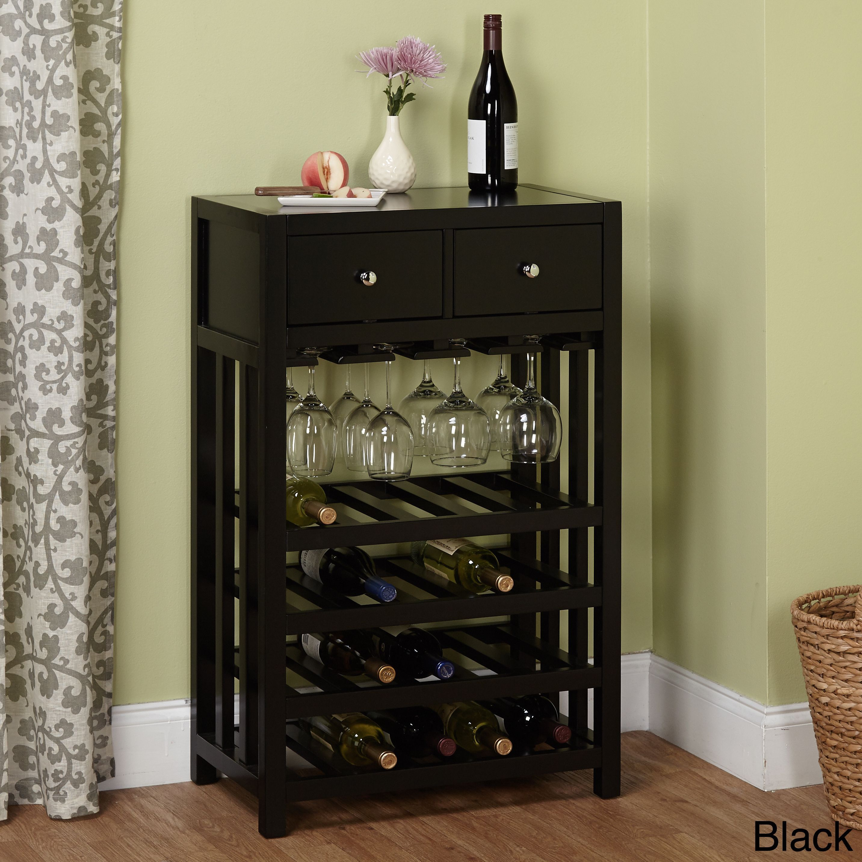 Simple Living Napa Wood 20 bottle Wine Tower Black