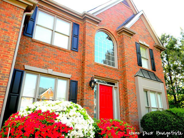 red front door brick house black shutters outdoor pinterest front doors red front doors. Black Bedroom Furniture Sets. Home Design Ideas