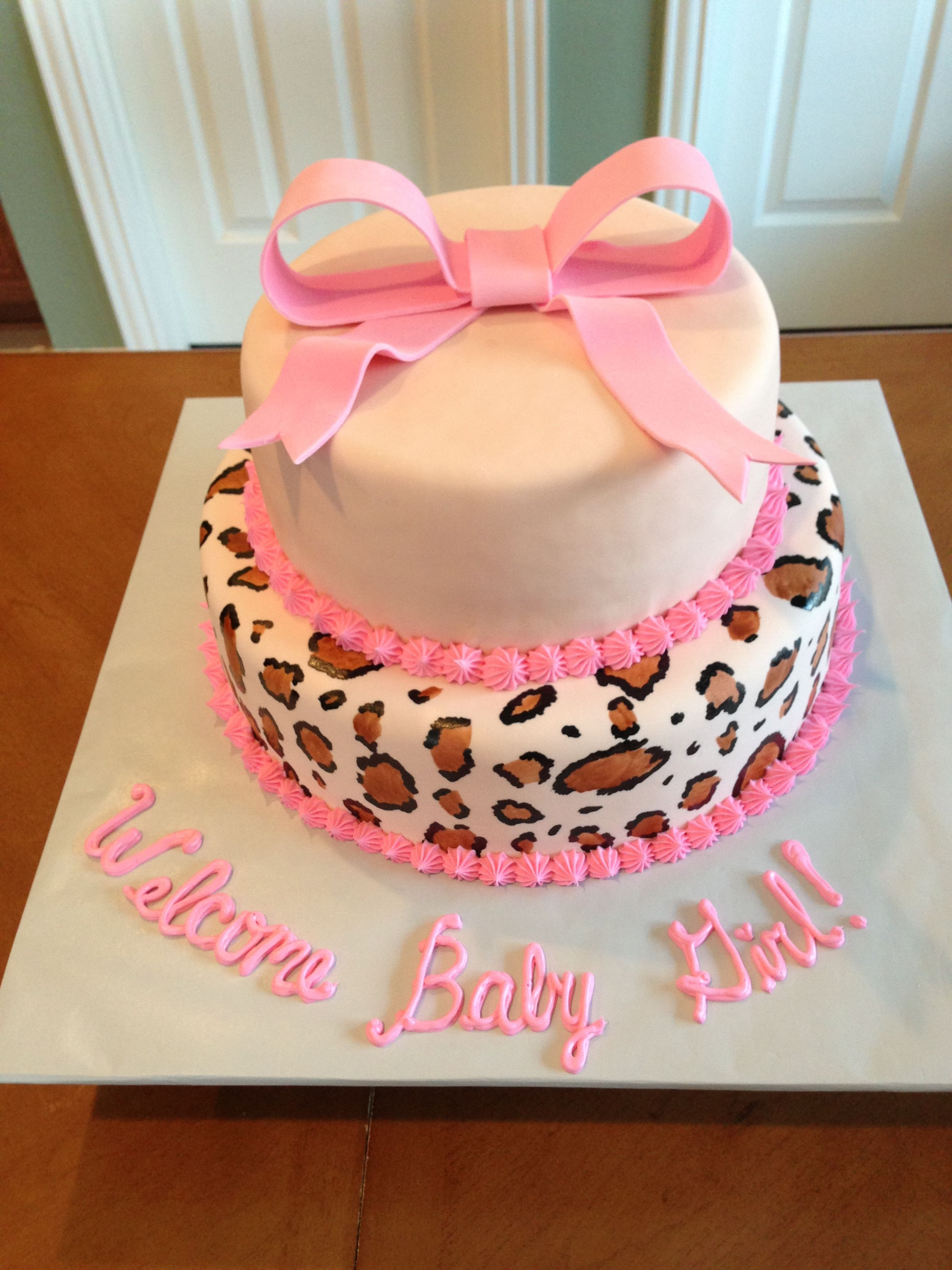 Baby shower cake hand painted leopard print leopard
