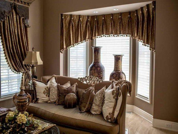 Elegant living room window treatment window valance ideas