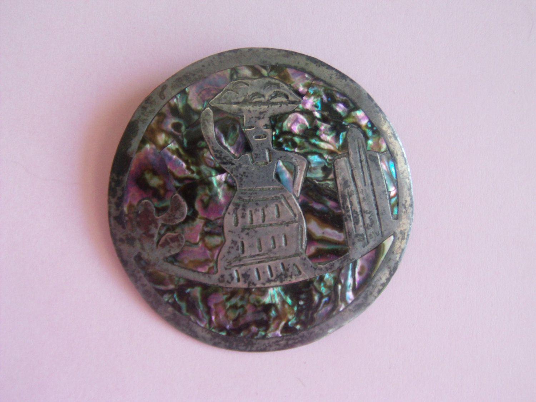 Abalone Jewelry / Abalone Brooch / Pin / Jamaica Jewelry / Abalone Necklace / Abalone Pendant / Sterling Silver Jewelry / Silver Brooch by TamJewelryandUniques on Etsy