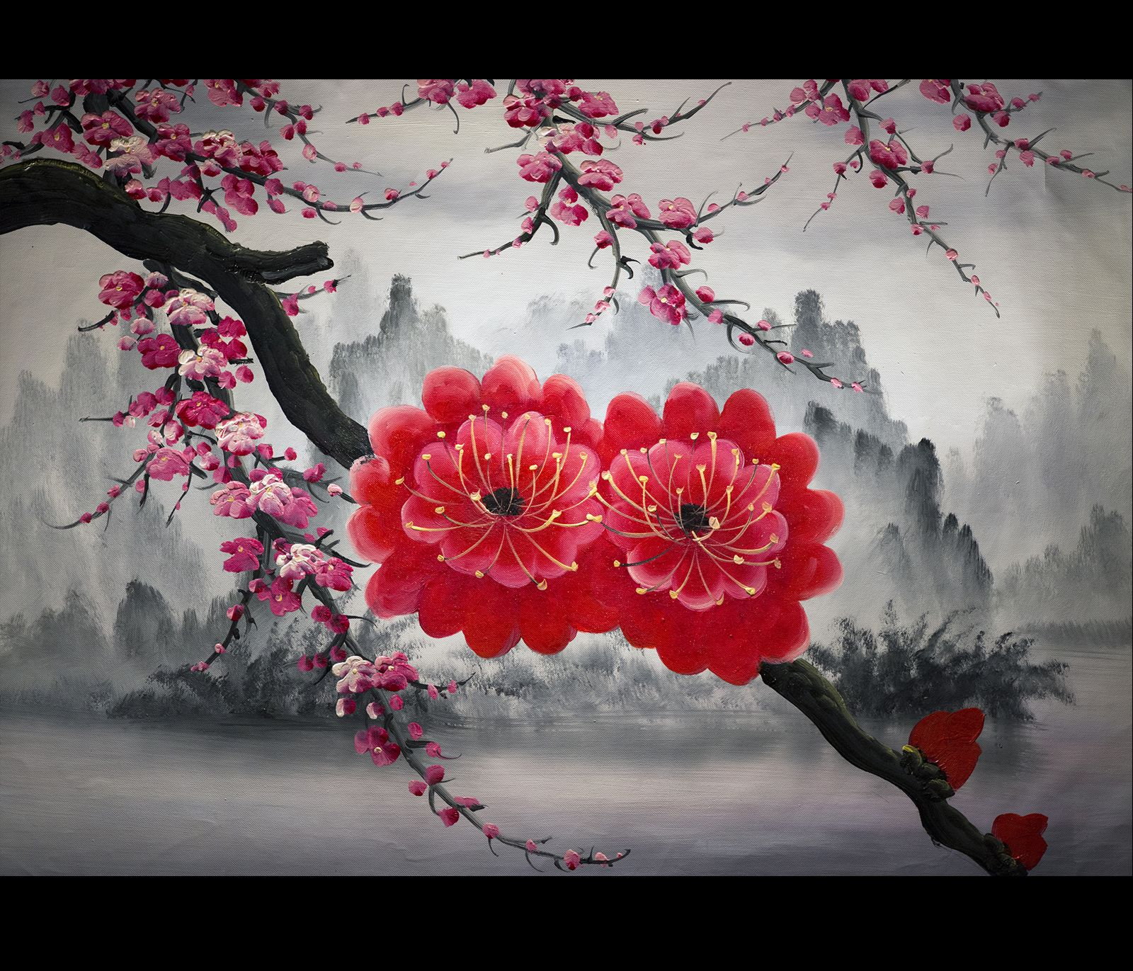 While Checking Out Sakura Inks I Found The Sakura Flower Site Some Lovely Images There Sakura Cherry Blossom Wallpaper Cross Paintings Butterfly Wallpaper