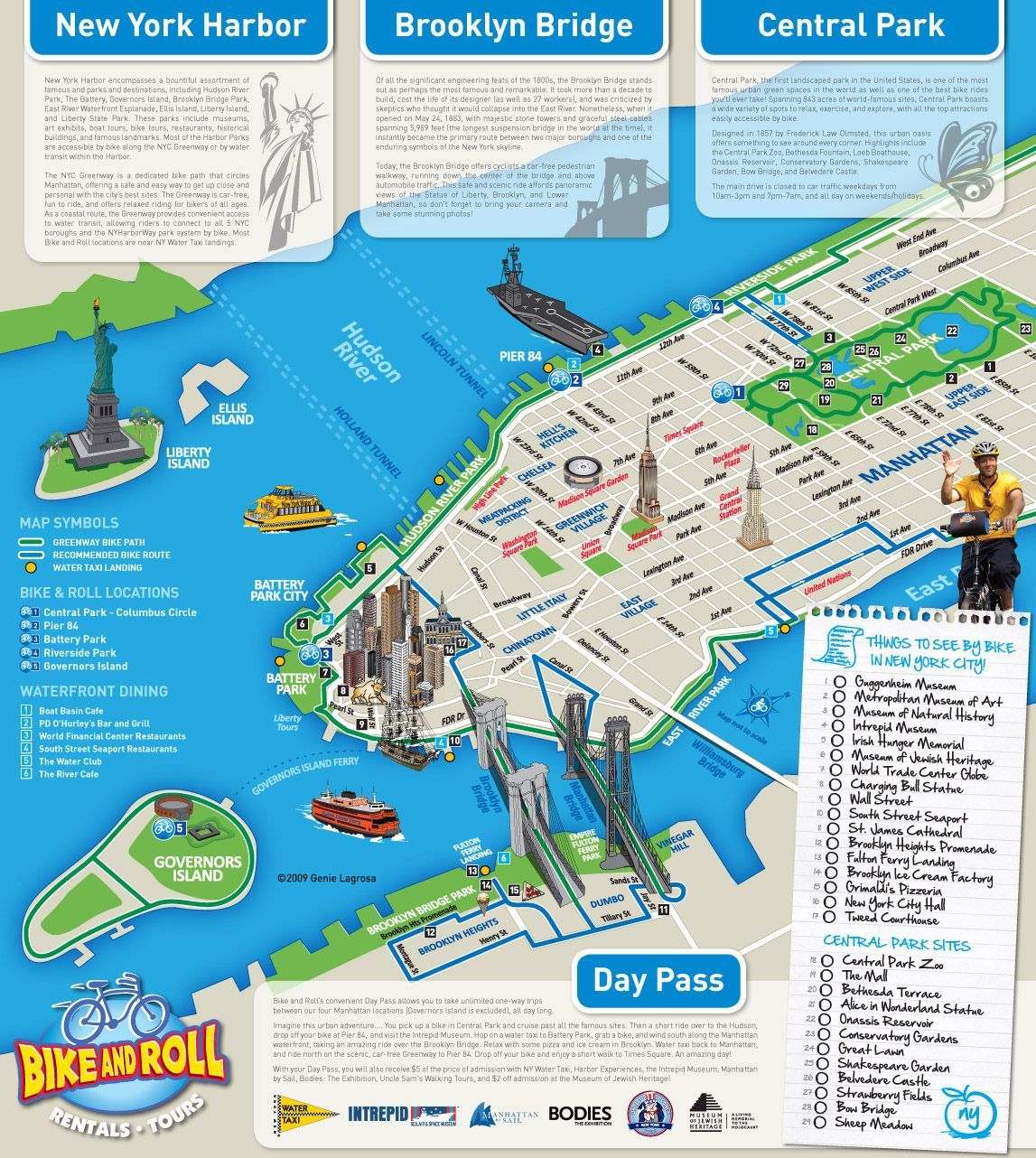new york city tourist attractions and bike route map