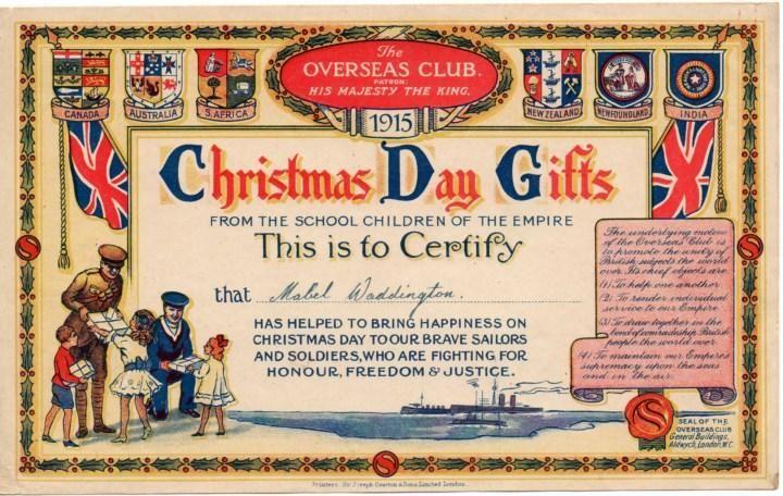 Christmas day certificate 1915 christmas christmas