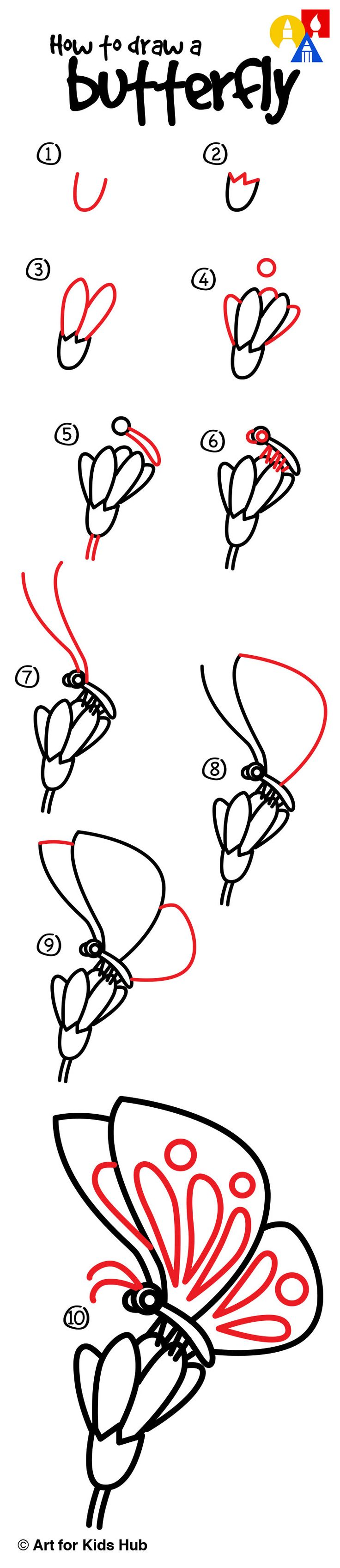 How To Draw A Butterfly On A Flower - Art For Kids Hub ...