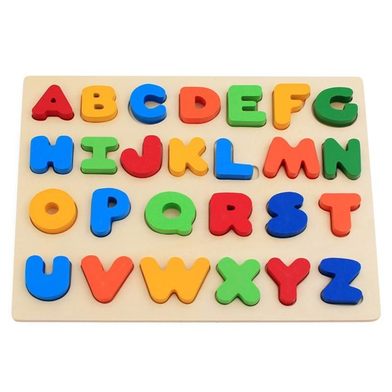 Colorful A to Z Alphabet Capitalized Letters Wooden Puzzles