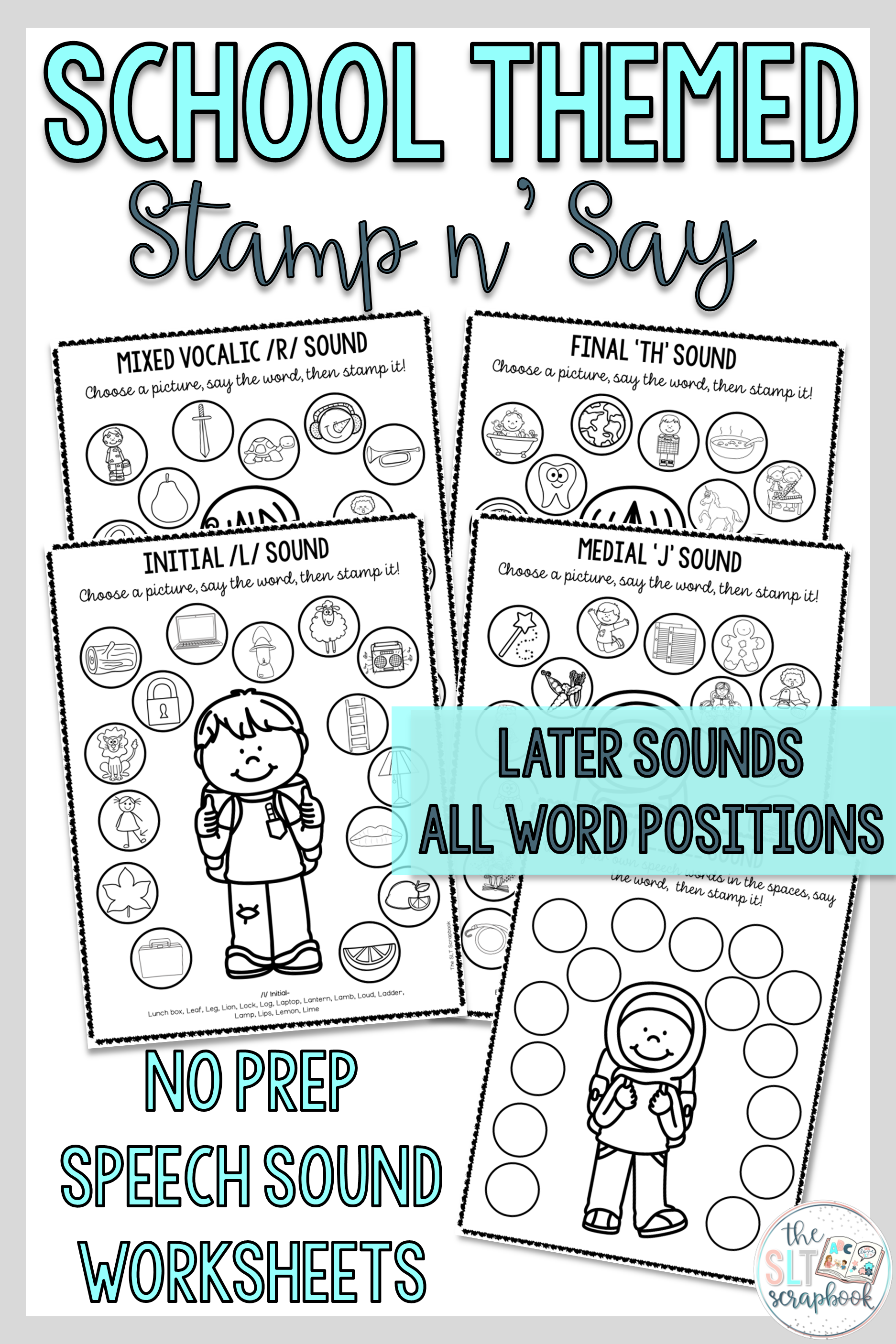 School Themed Speech Sound Worksheets Later Sounds With