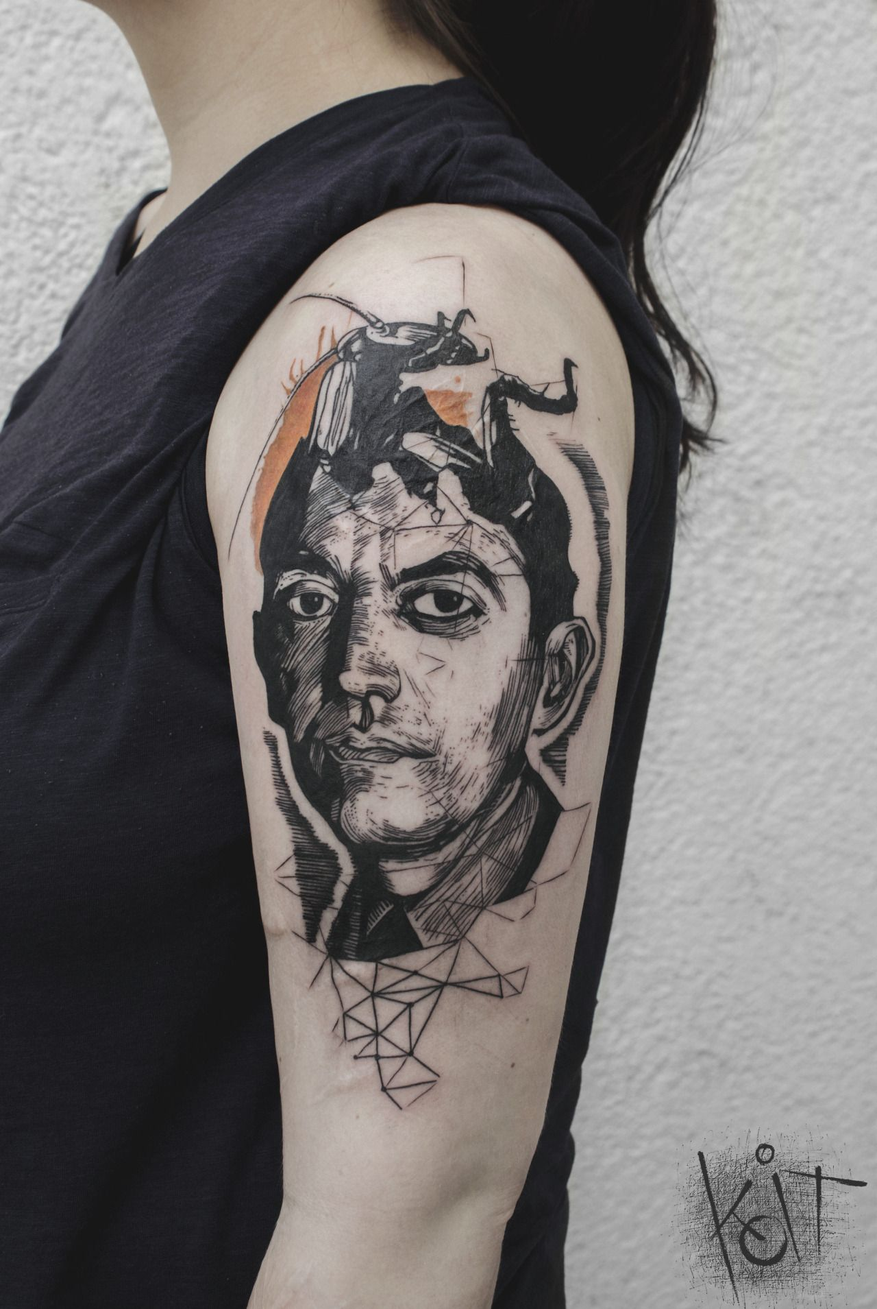 franz kafka by koit berlin tattoo artist graphic