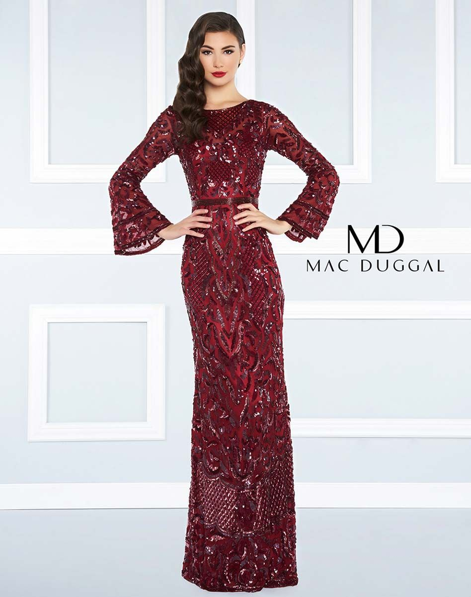 Beaded column dress with bell sleeve and open back mac duggal