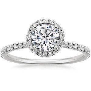 18k White Gold Waverly Diamond Ring Engagement Ring White Gold Halo Diamond Ring Emerald Engagement Ring
