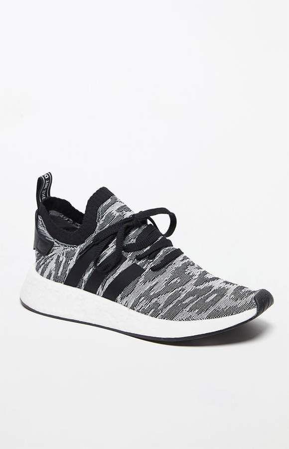 adidas NMD_R2 Primeknit Shadow Knit Black & White Shoes