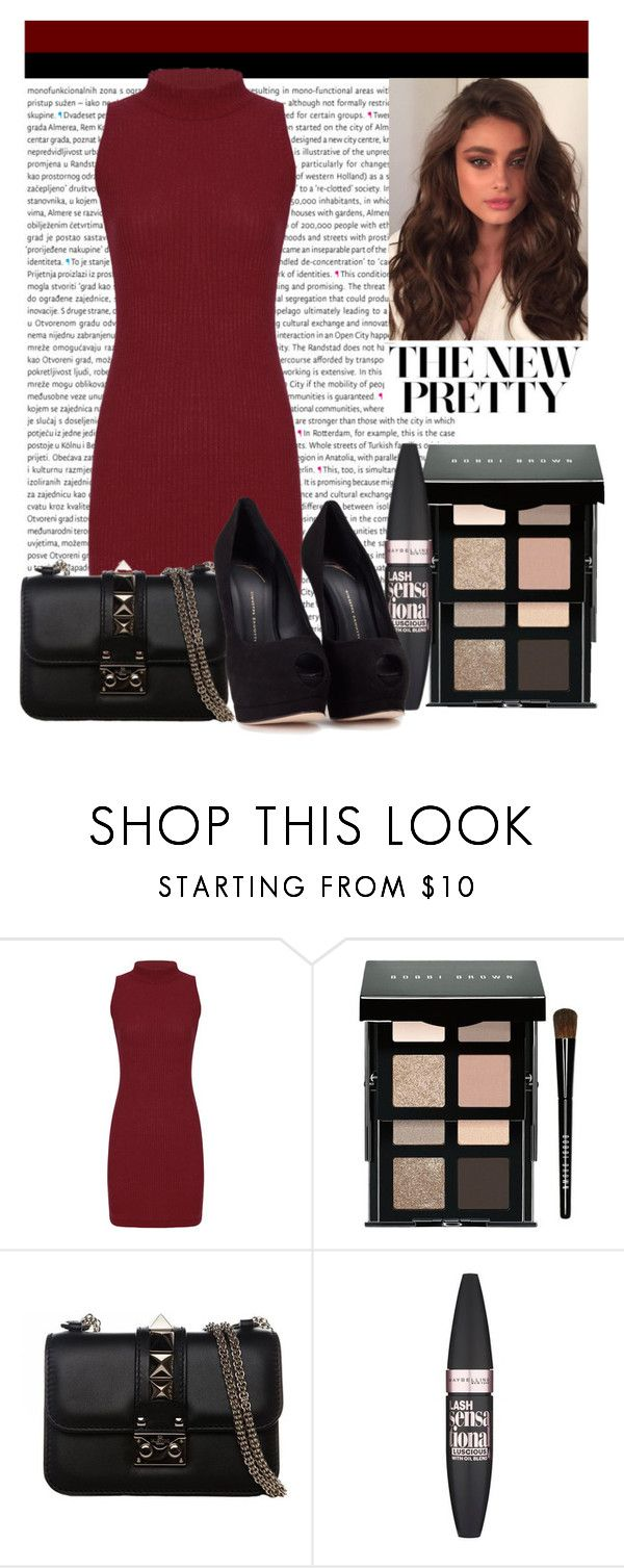 """""""The New Pretty"""" by xneyrax ❤ liked on Polyvore featuring Oris, Bobbi Brown Cosmetics, Valentino, Maybelline and Giuseppe Zanotti"""