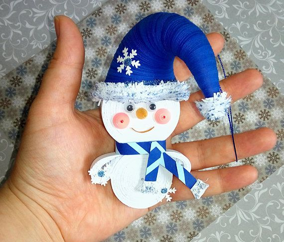 Snowman Christmas tree toy Quilling art Christmas souvenir