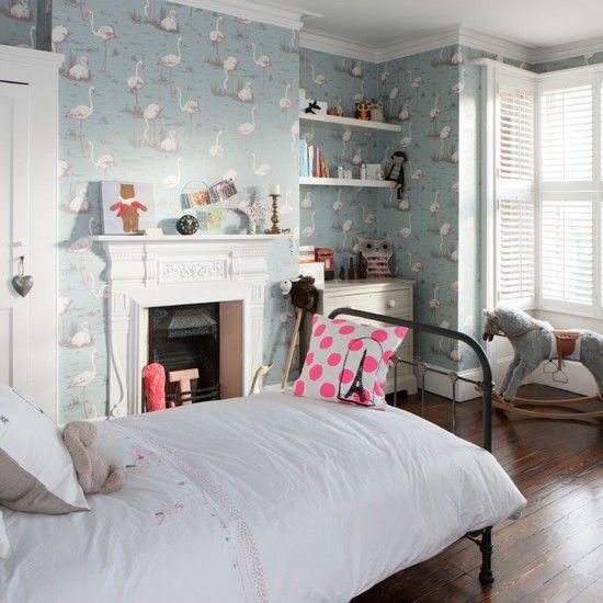 flamingo m dchen schlafzimmer tapeziert wohnideen living ideas wohnheim zimmer pinterest. Black Bedroom Furniture Sets. Home Design Ideas