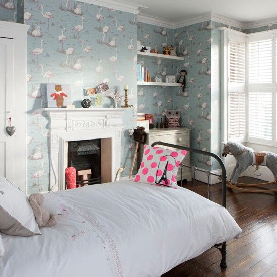 Alkoven Schlafzimmer Wohnideen Living Ideas: Flamingo-Mädchen-Schlafzimmer Tapeziert Wohnideen Living