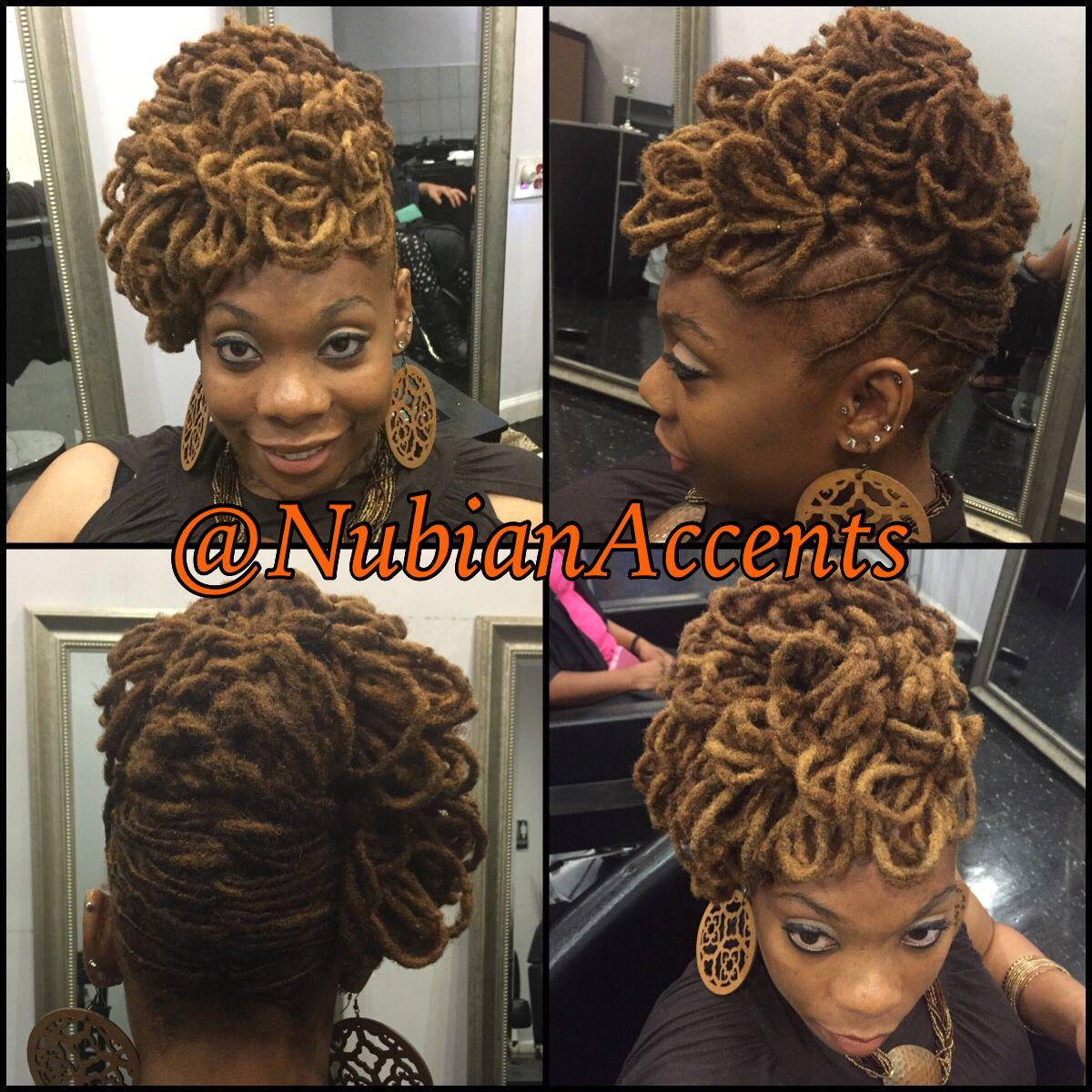 Loc petal updo nubianaccents hairstyles pinterest updo locs