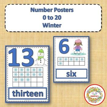 Number Anchor Charts 0 to 20 with Ten Frames - Winter | Ten frames ...