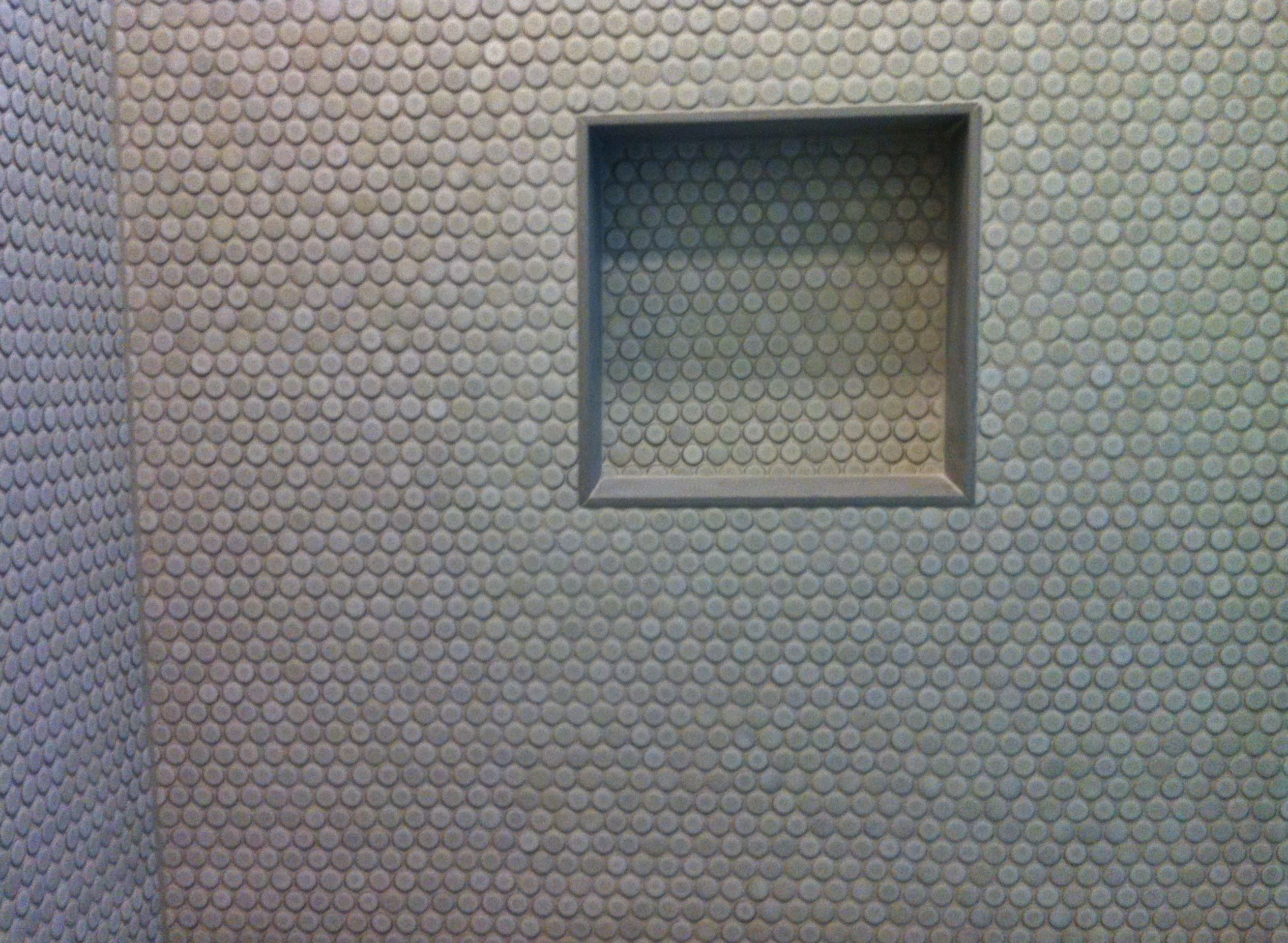 Penny Rounds On Shower Walls with Niche Detail Tile Jobs We Ve