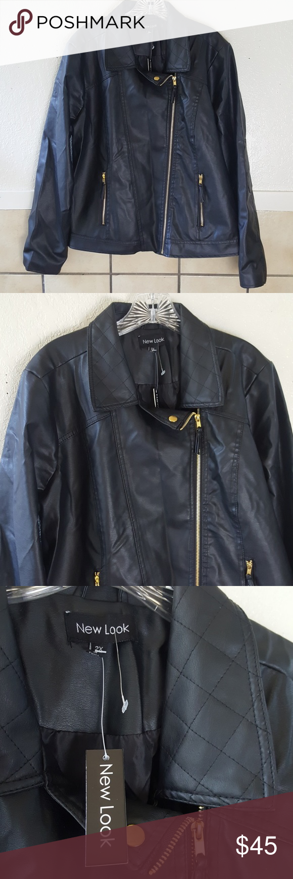 New Look Faux Leather Jacket Plus Size Nwt Nwt Black Faux Leather Moto Jacket New Look Jackets Leather Jacket