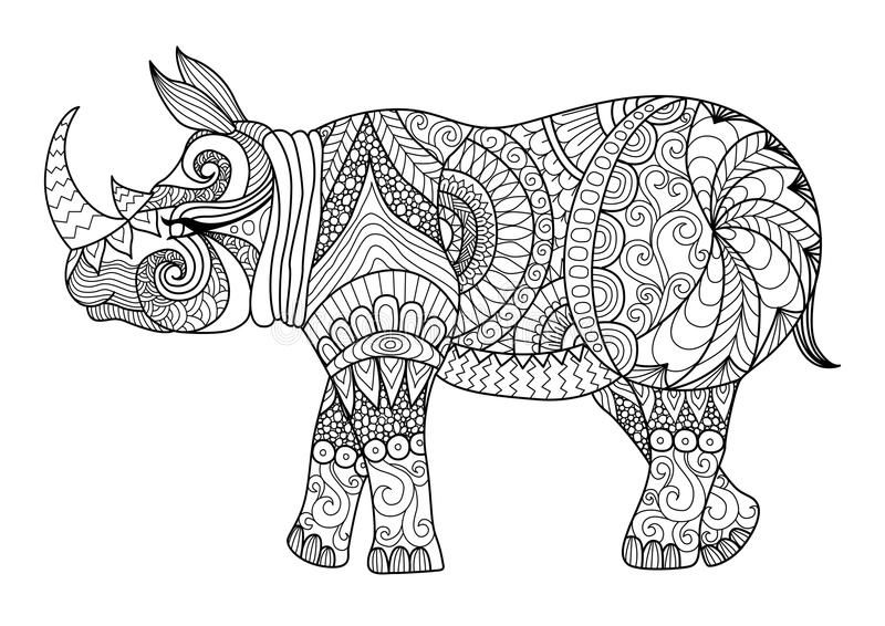 Drawing Zentangle Rhino For Coloring Page Shirt Design Effect