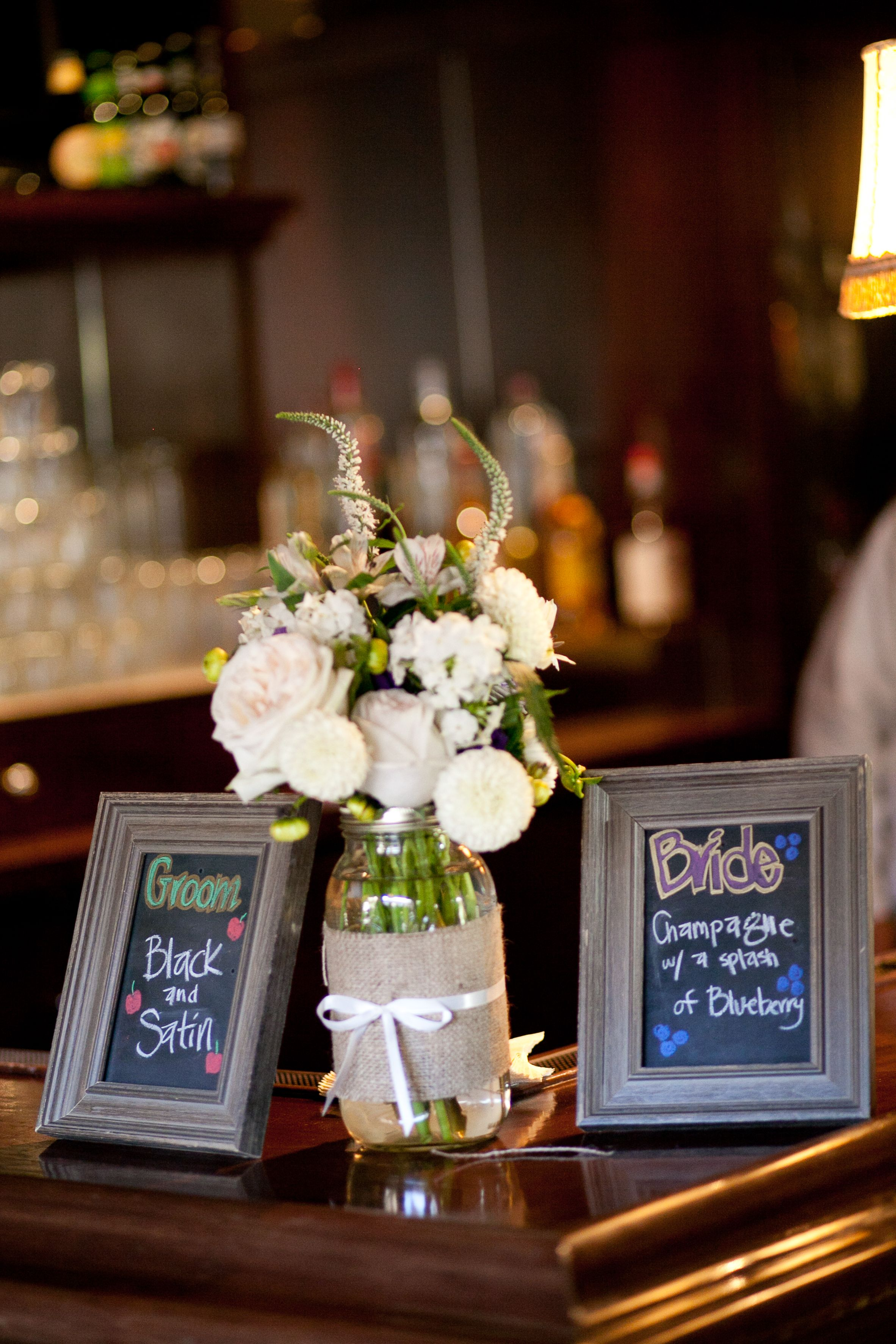 Bride and groom signature drinks Signature drinks sign