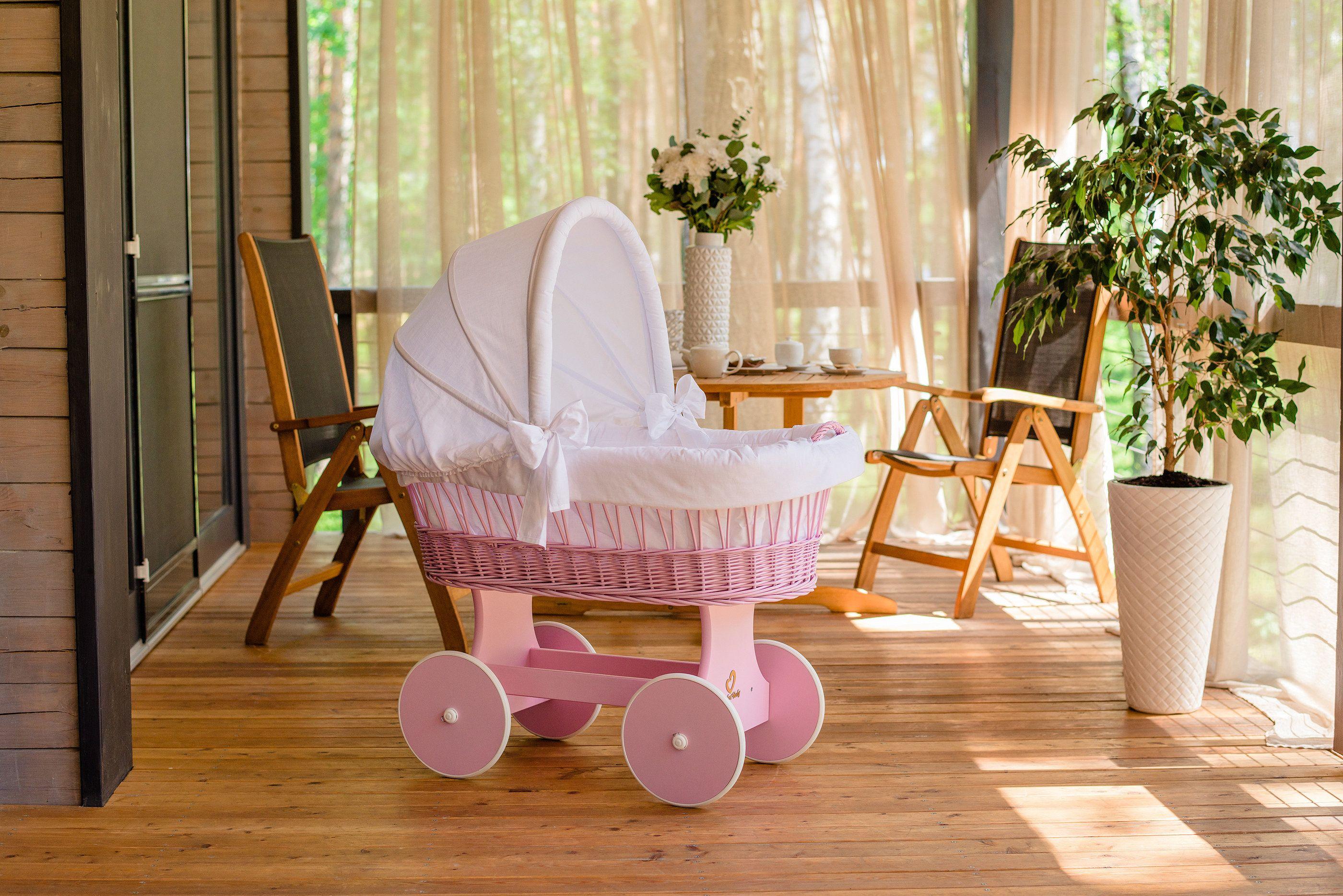 Baby stubenwagen snugly wood color pink including bed set white