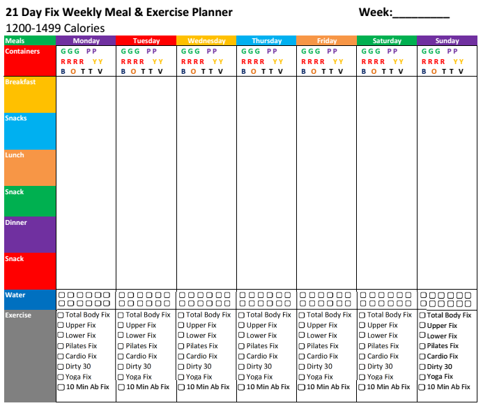 #21dayfix Meal & Exercise planners. Single sheet for the ...