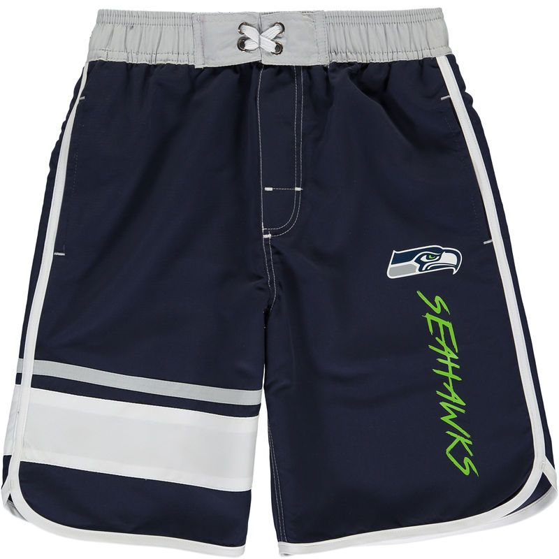 Seattle Seahawks Youth Color Block Swim Trunks - Navy/White