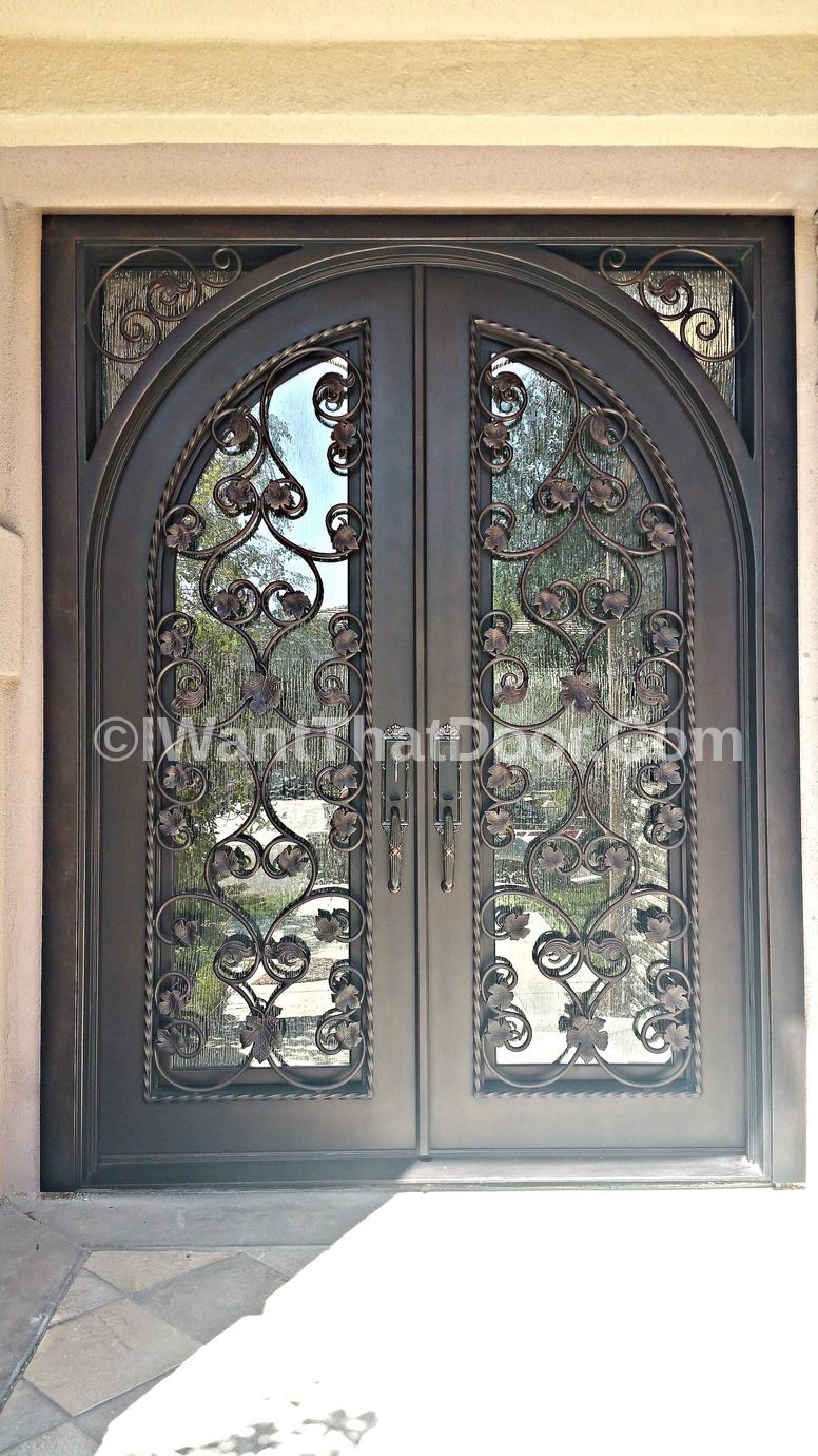 Milan Wrought Double Iron Door With Square Top And Round