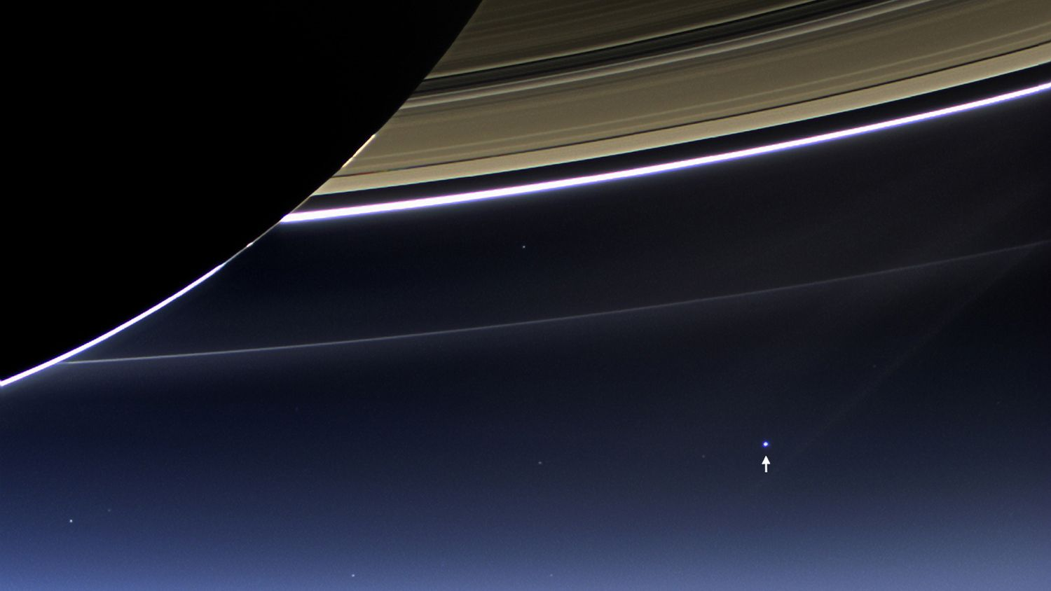 Wave at Saturn! This rare image taken on July 19, 2013, by NASA's Cassini spacecraft shows Saturn's rings and our planet Earth. Though the picture doesn't show it, more than 20,000 people on Earth waved at Saturn at just the time the photo was taken, as NASA had coordinated a plan to involve as many Earthlings as possible in the portrait.