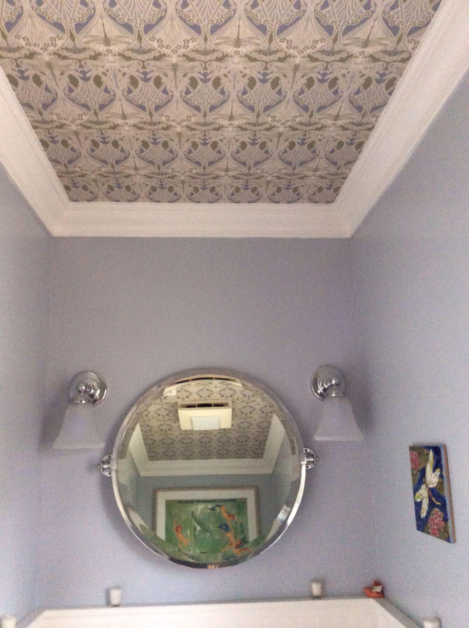 Art Nouveau Wallpaper On The Ceiling In Half Bath It