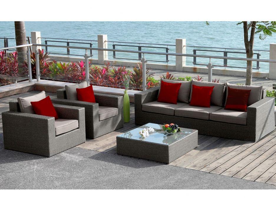 Salon de jardin RIO GRANDE en résine tressée : canapé 3 places + 2 ...