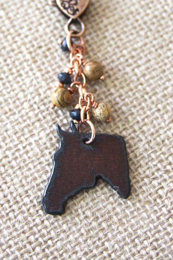 Horse Copper Key Chain Ranch Purse Charm Jasper by DlightedJewelry, $26.00