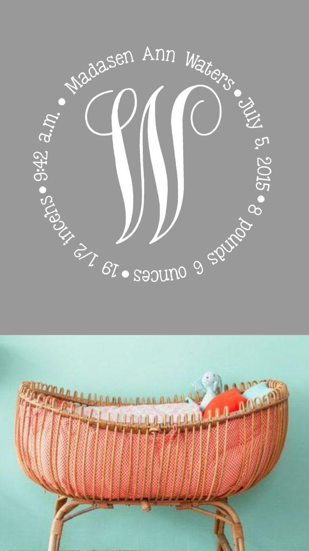Monogram Birth AnnouncementVinyl Wall Decal Nursery Decor - Advertize monogram wall decals