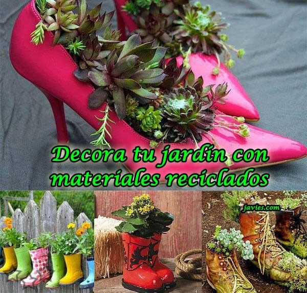 Decorar jardin arreglos outdoor flowers garden y flower pots Adornos jardin reciclados